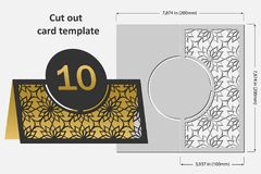 Template cards to cut. Topper. Use for congratulations, invitations, presentations, weddings. Vector illustration Stock Photo