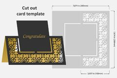 Template cards to cut. Topper. Use for congratulations, invitations, presentations, weddings. Vector illustration Stock Photos