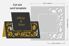 Template cards to cut. Topper. Use for congratulations, invitations, presentations, weddings. Vector illustration Royalty Free Stock Image