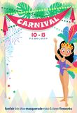 Template Carnival poster with cute Brazilian Girl wearing a samba dancer costume. stock illustration