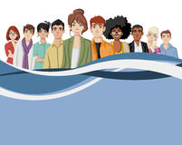 Template with cartoon young people. Royalty Free Stock Image