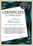 Template certificate of appreciation with decorative elements. Royalty Free Stock Photography