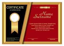 Template certificate of appreciation. Elegant gold, black and re Stock Photo
