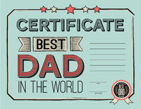 Template certificate  congratulations for fathers day in vintage retro style. vector illustration. Worlds best dad Stock Photos