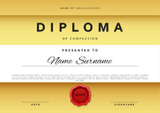 Template certificate design in gold color. Stock Photography