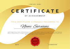 Template certificate design in gold color. Stock Images