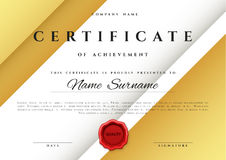 Template certificate design in gold color. Royalty Free Stock Photo