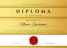 Template certificate design in gold color. Royalty Free Stock Photos