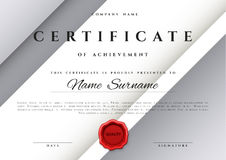 Template certificate design in silver color. Royalty Free Stock Photos