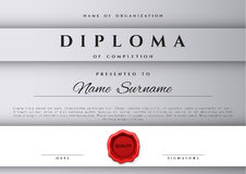 Template certificate design in silver color. Royalty Free Stock Image