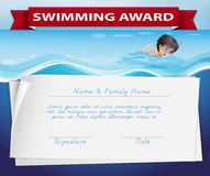 Template of certificate for swimming award Royalty Free Stock Photography