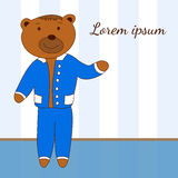 Template with the character of bear in a blue suit. With place for your text stock illustration