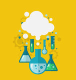 Template of chemical experiment showing various tests being cond Royalty Free Stock Photo