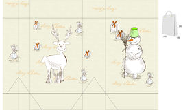 Template for christmas bag Royalty Free Stock Images