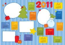 Template - Christmas calendar. Template for a calendar for a Christmas theme with frames for photos Stock Photos