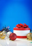 Template for Christmas card. On blue background Royalty Free Stock Photos