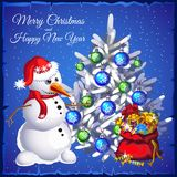 Template Christmas card. Snowman near Christmas tree with gifts. Vector illustration. Template Christmas card. Snowman near Christmas tree with gifts Royalty Free Stock Photos