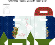 Template Christmas gift box with Teddy Bear. Patchwork style for design. Vector illustration Stock Illustration