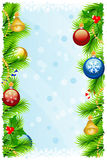 Template Christmas greeting card. Greeting Christmas background with fir branches, Christmas-tree decorations,  snowflakes, candyes, colored bubble, mistletoe Stock Images