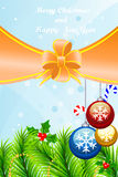 Template Christmas greeting card. Beautiful greeting card with Christmas-tree decorations, candyes, fir-tree, bubbles and mistletoe for your.Vector illustration Royalty Free Stock Photography