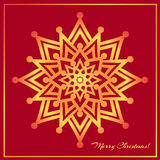 Template Christmas greeting card design decorated with shiny golden star Royalty Free Stock Photography