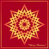 Template Christmas greeting card design decorated with shiny golden star Royalty Free Stock Images
