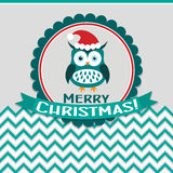 Template Christmas greeting card with a owl, vector Stock Photography