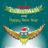 Template Christmas greeting card with an owl Royalty Free Stock Images