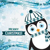 Template Christmas greeting card with a penguin, vector Royalty Free Stock Photography
