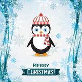 Template Christmas greeting card with a penguin, vector Royalty Free Stock Photos