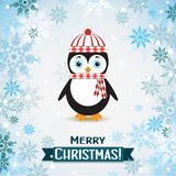 Template Christmas greeting card with a penguin Royalty Free Stock Photography