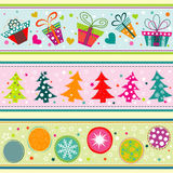 Template Christmas greeting card, ribbon, vector Royalty Free Stock Images