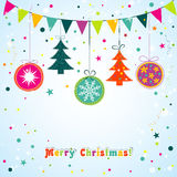 Template Christmas greeting card, ribbon, vector Stock Photos