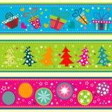 Template Christmas greeting card, ribbon, vector Royalty Free Stock Image