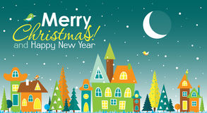 Template Christmas greeting card with a  tree and house, vector Stock Photo