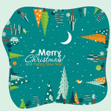 Template Christmas greeting card with a tree, vector Royalty Free Stock Photography