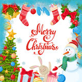 Template with Christmas icons Royalty Free Stock Photo