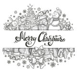 Template with Christmas icons. And hand lettering. Monochrome sketch style Christmas illustration for decoration. Vector Royalty Free Stock Photography