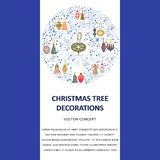 Template Christmas tree decorations in round shape and text. Template with Christmas tree decorations in round shape and text. Flat style illustration. Greeting vector illustration