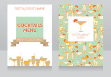 Template for cocktails menu Stock Images