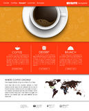 Template coffee web site. Web site template with a banner and hand drawings and a cup of black coffee, top view. The menu for the cafe, shops and restaurants Royalty Free Stock Photography