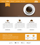 Template coffee web site. Web site template with a banner, ribbon and a cup of black coffee, top view. The menu for the cafe, shops and restaurants. Vector Royalty Free Stock Photography