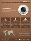 Template coffee web site. Brown Design web site with a cup of black coffee, top view. Template menu for cafes, shops and restaurants. Vector illustration Royalty Free Stock Images