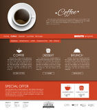 Template coffee web site. Template Web Site brown with red buttons and a cup of black coffee, top view. The menu for the cafe, shops and restaurants. Vector Royalty Free Stock Images