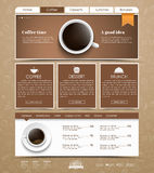 Template coffee web site. Design a web site with a banner and a cup of black coffee, top view. The template is divided into blocks of information. The menu for Royalty Free Stock Image