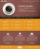 Template coffee web site. Design yellow and brown web site with a banner and a cup of black coffee, top view. Template with hand drawings in the background. The Royalty Free Stock Photos