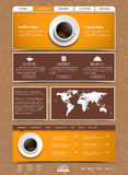 Template coffee web site. Web site template with a yellow banner and a cup of black coffee, top view. Design division into blocks and drawings in the background Royalty Free Stock Photos