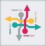 Template with color arrows. Color arrows pointing in different directions with copy space area royalty free illustration