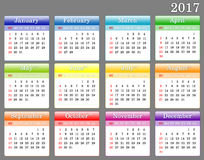 Template of 2017 colorful calendar. The a template of 2017 colorful calendar Stock Illustration