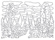 Template for coloring. Coloring Picture landscape with Stock Image